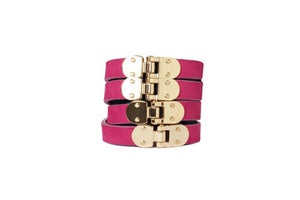 Image of Fuchsia Leather Beltlett with Gold Hinges