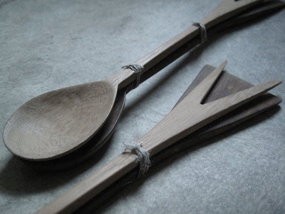 """Image of DOUBLE ENDED HAND CARVED WOOD SALAD SERVERS 12"""" (30.48CMS)"""