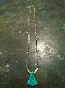 Image of Green Stone Aztec Pendant Necklace