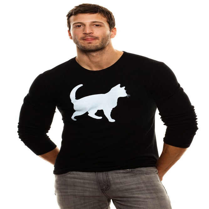 Image of guys slim fit black cat thermal