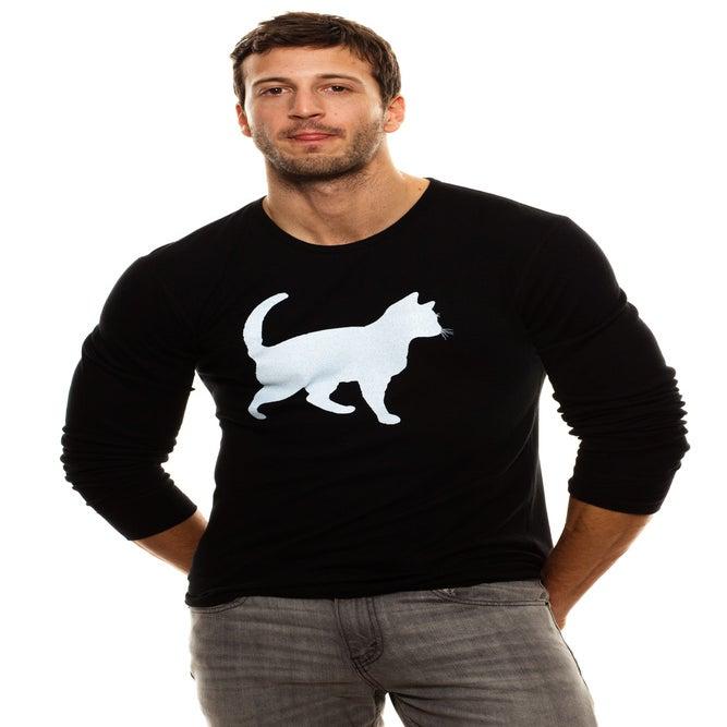 Image of guys slim fit black cat thermal
