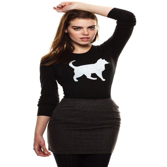 "Image of girls slim fit black ""mini mim"" cat quote thermal"