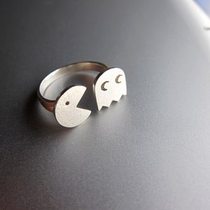 Image of PAC-MAN (パックマン Pakkuman)- Handmade Sterling Silver Ring for 8-bit Game memories