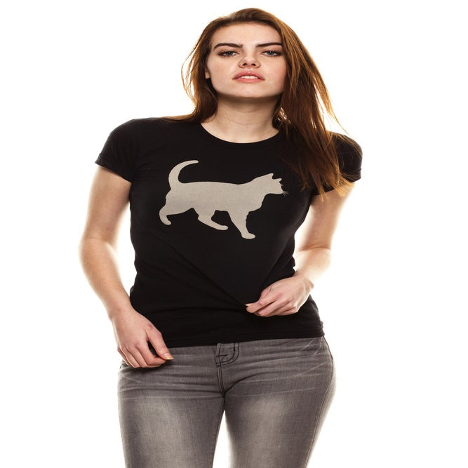"Image of girls black ""mini mim"" bleach out cat tee"