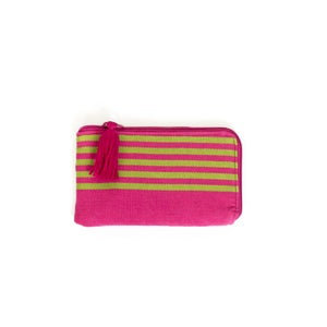Image of Small Tassel Padded Pouch Pink/Lime