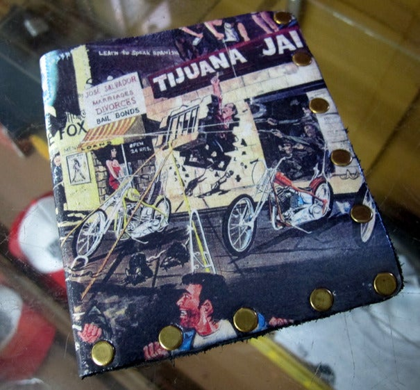 "Image of ""TIJUANA JAIL BREAK"" Tom Fugle hand made leather wallets with David Mann artwork"
