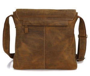 Image of Vintage Handmade Genuine Crazy Horse Leather Messenger Bag Satchel / iPad Bag (n81)