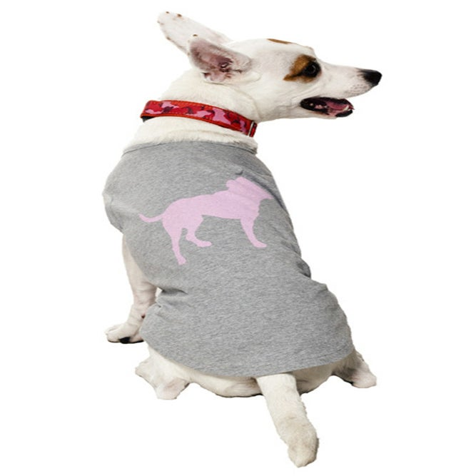 Image of pink tiny tim dog tee