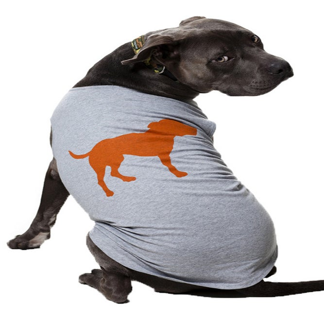 Image of tiny tim signature grey heather dog tee
