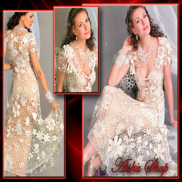 Aisha shop crochet patterns ebook irish lace dresses for Crochet lace wedding dress pattern
