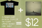 Image of Debut Album + Signed Lyric Sheet + 3-phenia's shirt Package!