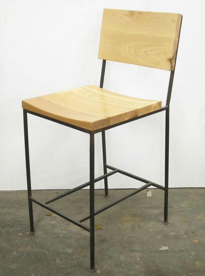 Image of solid hickory curved bar stool - counter height