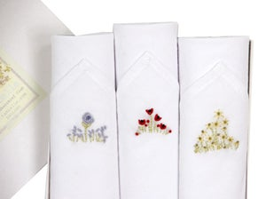 Image of Set of III Ladies Hankies: Embroidered Flowers