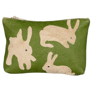 Image of Suede Green Rabbit Purse Small
