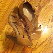 Image of Tan Strappy Stiletto Size 11/12W