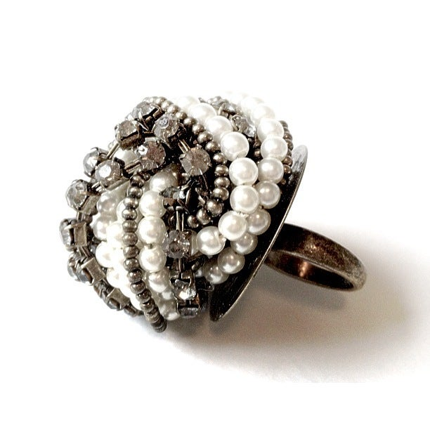 Image of Pearl Bead & Gem Crown Ring