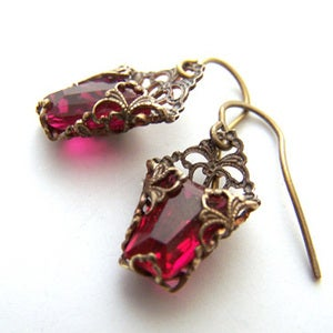 Image of Trapezoid Deco Dangles in Ruby