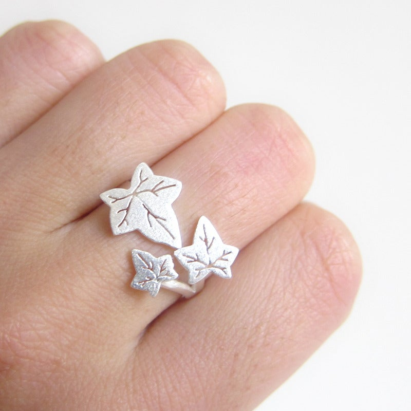 Image Of Ivy Leaves Silver Ring For Ivy Lovers Handmade
