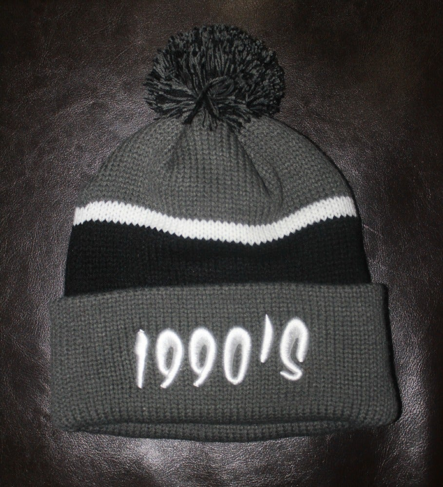 Image of GREY WITH BLACK 90s #POMBEANIE