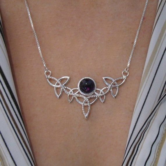 Camias jewelry designs trinity knot gemstone celtic pendant image of trinity knot gemstone celtic pendant necklace with 16 inch box chain 925 aloadofball Images