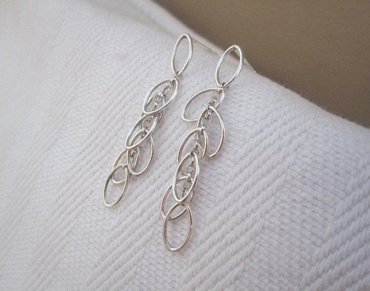 Image of Leaf Cluster Drop Earrings