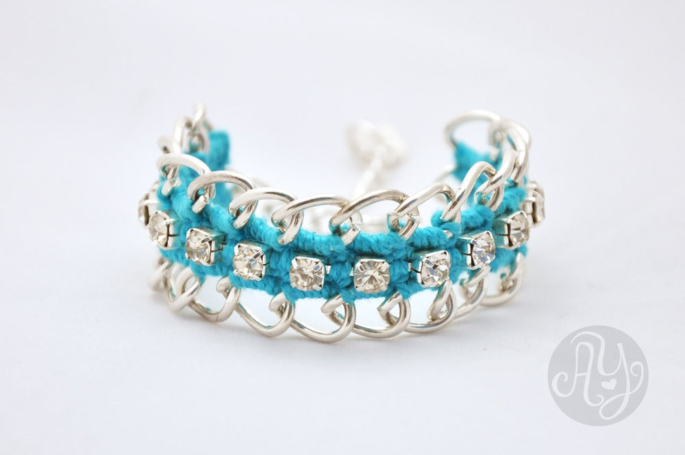 Image of Turquoise Silver Chain Bracelet with Strass