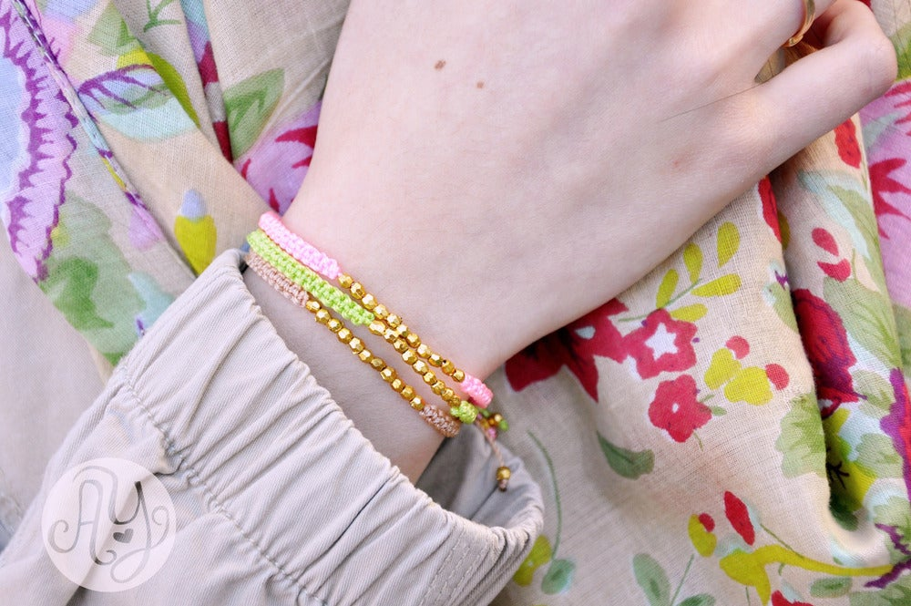 Image of Macrame Friendship Bracelet with gold beads