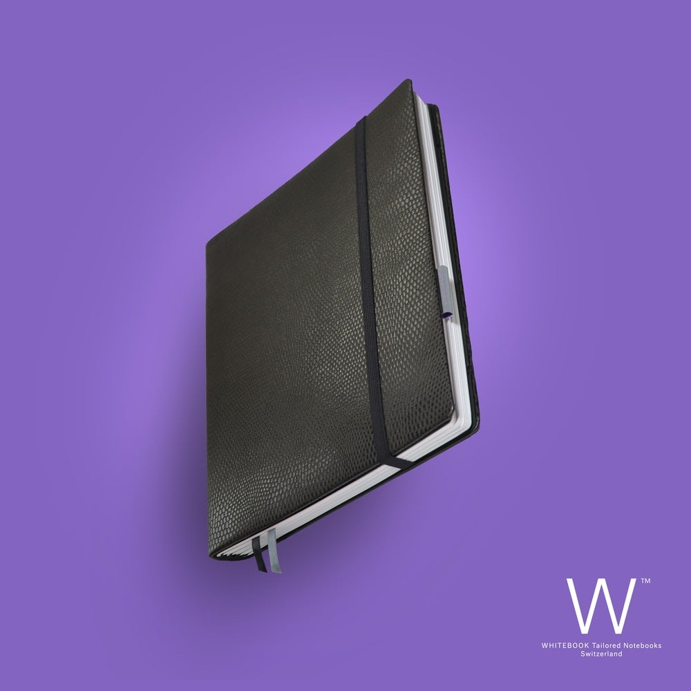 Image of Whitebook Premium P032w, calf nappa, lizard embossed, welt sewn, black, 240p. (fits iPad/Mini)