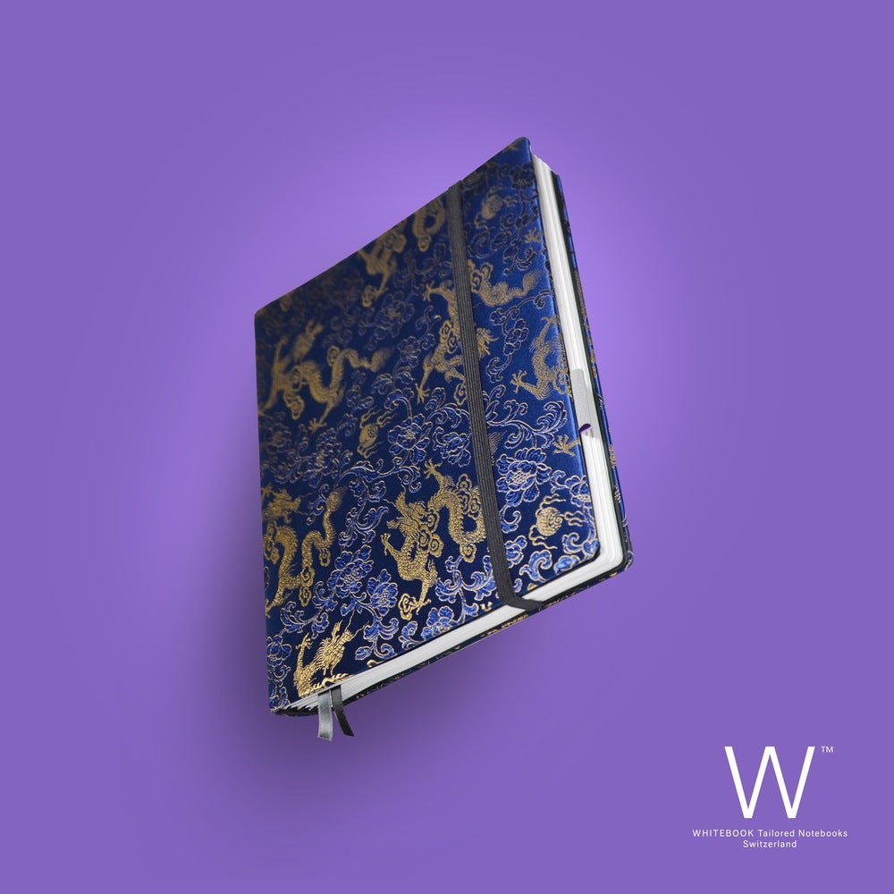 Image of Whitebook Haute Couture H018, Silk brocade, blue with dragoons, 240p. (fits iPad)