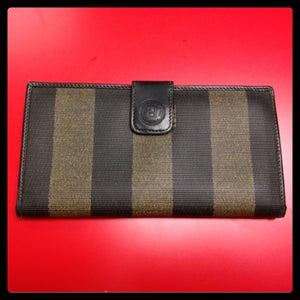 Image of Fendi Striped Wallet- Black/Brown