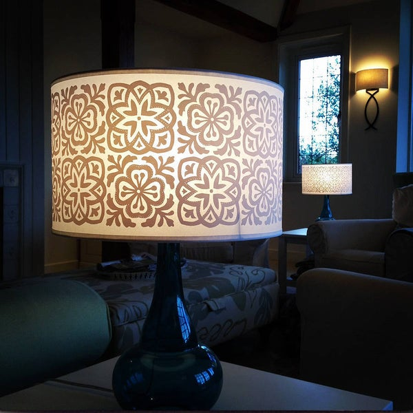 Image of Wide Tub Drum Lampshade Moroccan Tile White