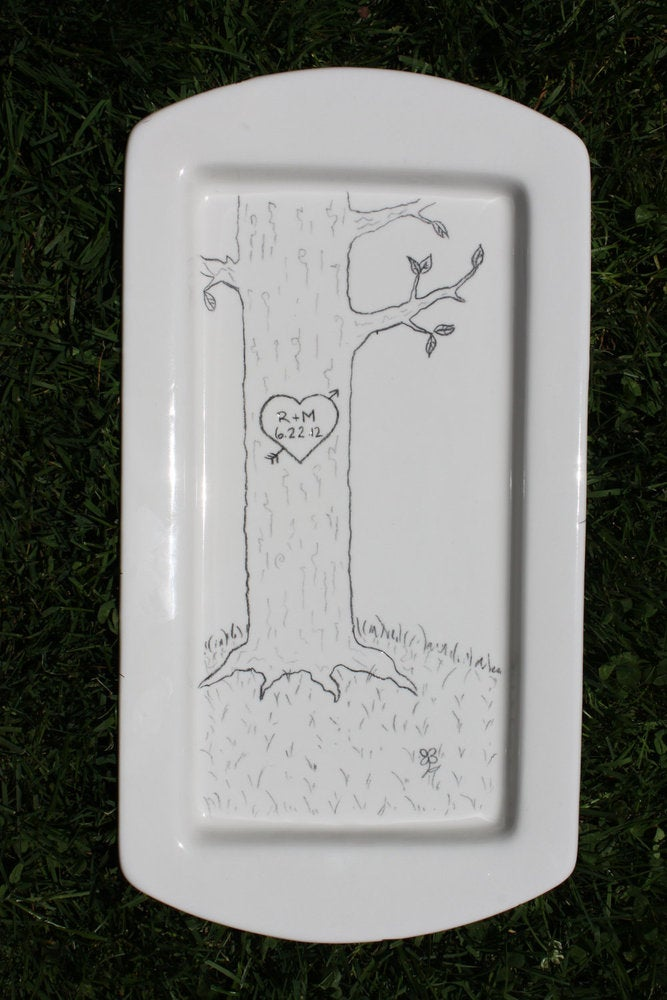Image of Lovers' Tree, Custom Wedding / Engagement / Anniversary Platter