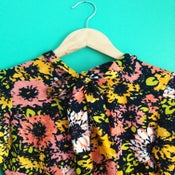 Image of Vintage long sleeve floral dress with neck tie