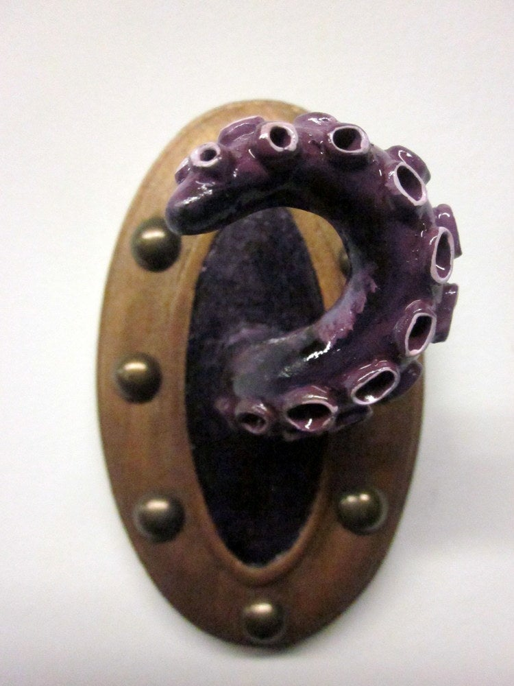Image of Single murky purple Tentacle jewelry holder