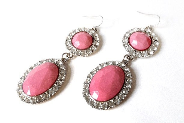 Image of Pink Gem Diamante Drop Earrings