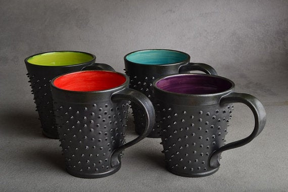 Image of Spiky Mug Gun Metal Black and Orange