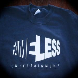 Image of Fameless Crew Neck Sweatshirt - BLUE w/ WHITE INK