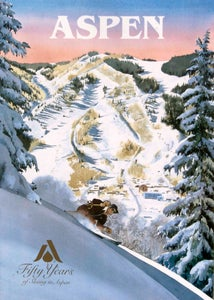 Image of Fifty Years of Skiing in Aspen Vintage Poster