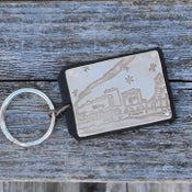 Image of Your Child's Artwork - Keychain - Bronze on Black Leather