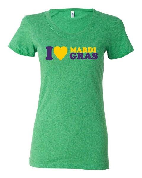 "Image of ""I Heart Mardi Gras"" Ladies Tri-Blend"