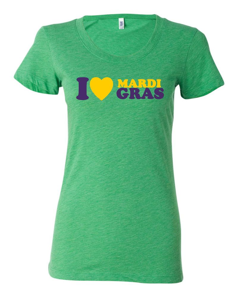"Image of ""I Heart Mardi Gras"" Ladies Tri-Blend"