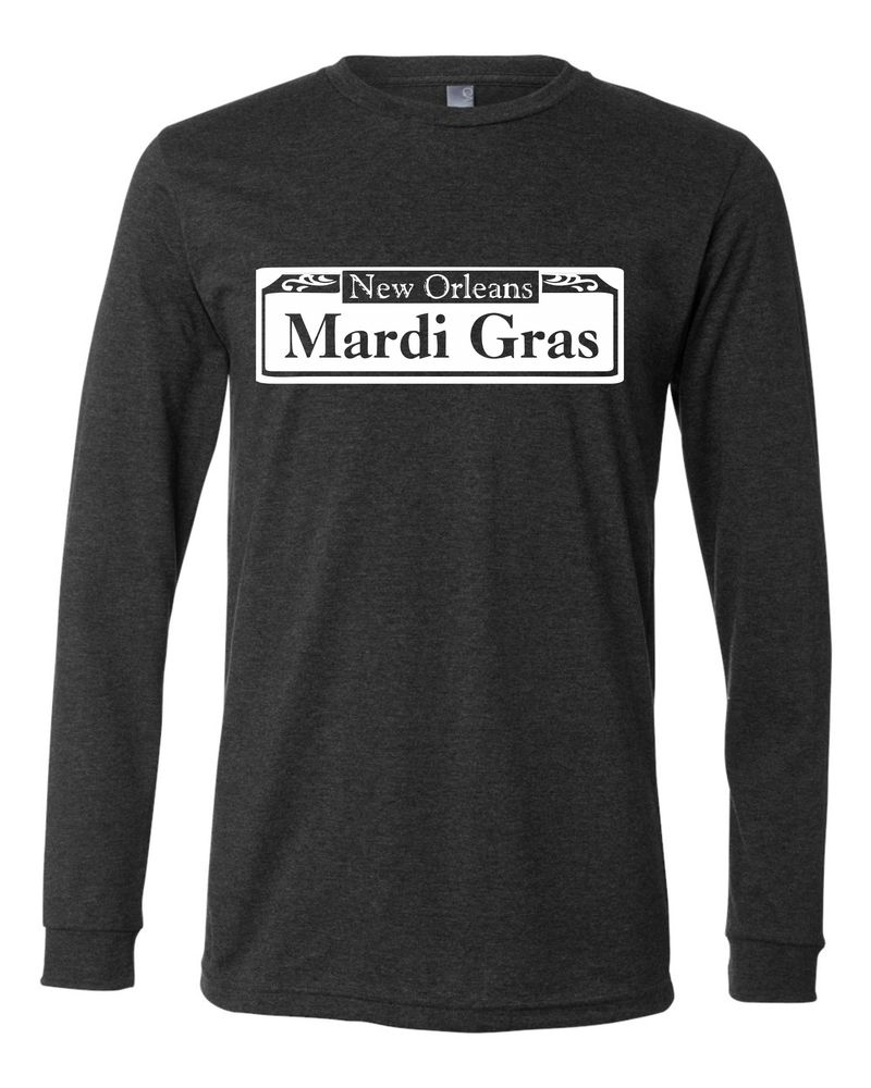 Image of Mardi Gras Street Sign Charcoal Long Sleeve Tee