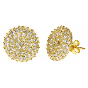 Image of  Kara Ackerman <i> GemGirl <i/> Pave Disc Earring in Yellow Gold plating