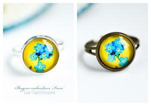 Image of Bague Ines fleurs jaune bleu