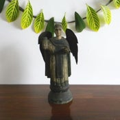 Image of Antique wood statue of Saint Vincent