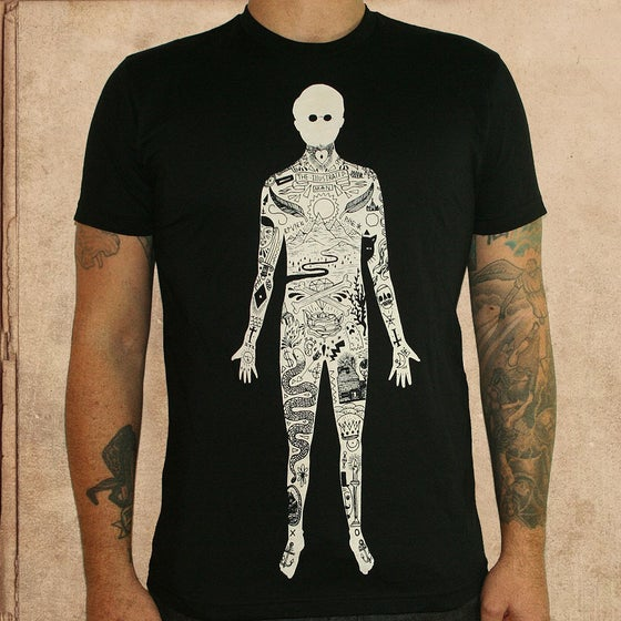Image of the illustrated Man - discharge ink - unisex
