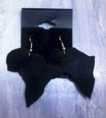 Image of Black Leather Africa Shaped Earrings