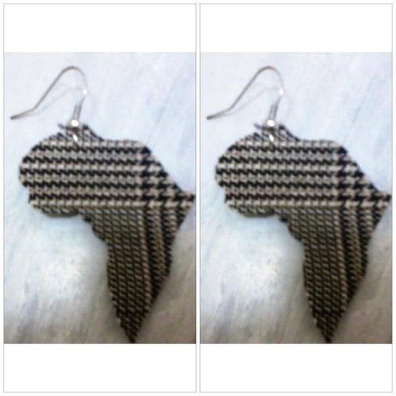 Image of Tartan Africa Shaped Earrings