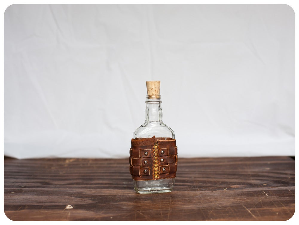 Image of Leather UpCycled Flask - Small