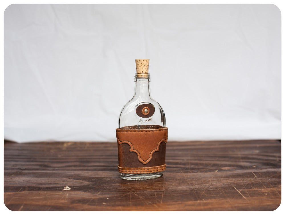 Image of Leather UpCycled Flask - Whiskey Tan - Small